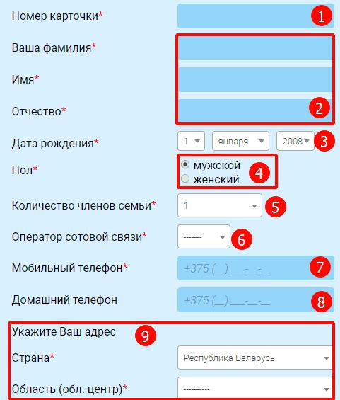 Форма для регистрации в игре Удача в придачу